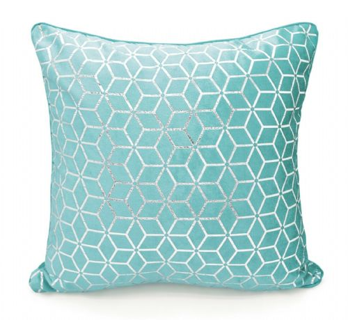 Large Geometric Shimmer Glitzy Metallic Foil Print Design Filled Scatter Cushion Duck Egg